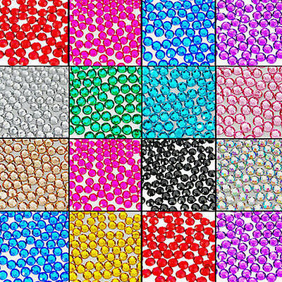 1000x Facets Resin Rhinestone Gemstone Flat Back Crystal AB Beads 2mm 10 Colors