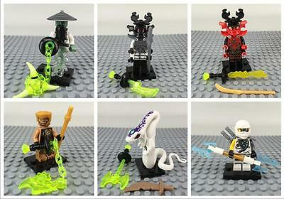 6 Sets Minifigures Flying Ninja Ninjago Zane Kozu Stone Warrior Blocks Toys DR47