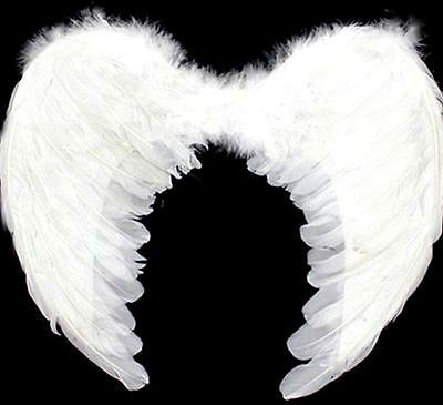 WHITE Feather Angel Wings 100x80cm Fancy Dress Costume Party Accessory NEW