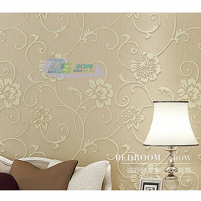 Beige 3D Non-woven Wall Paper Embossed Beauty Flower Wallpaper Roll Room Decor