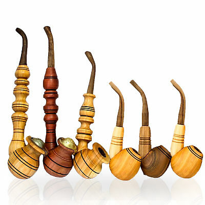 SET OF 6! Wooden Tobacco Pipes Walnut Cherry Plum Wood Smoking Pipe HAND-CARVED