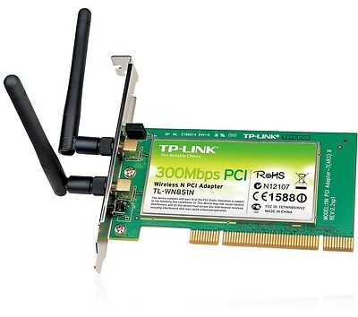 TP-LINK TL-WN851N Wireless-N PCI Adapter 300 Mbps 802.11n Built-In Antenna