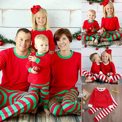 Christmas Xmas Kids Adult Family Pajamas Set Striped Sleepwear Nightwear Costume