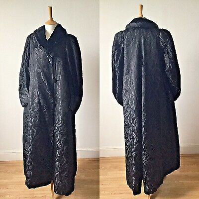 Antique Edwardian Black Damask Pattern Silk Opera Coat / Long Evening Jacket