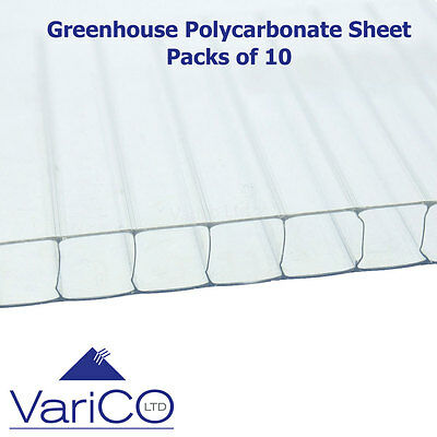 4mm Greenhouse Polycarbonate Replacement Sheets Pack Of 10 Sheets 2ft X 4ft