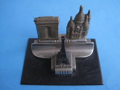 Antique Bronze Ink Well Inkstand Pen Monuments Of Paris France