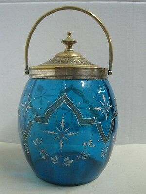 Antique cookies cakes blue glass box case victorian hand paitend in enamel