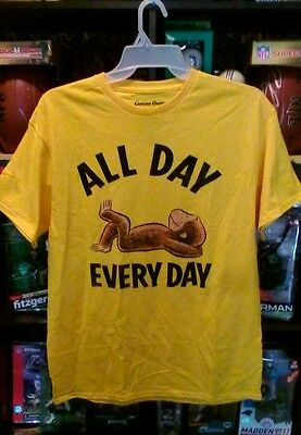 CURIOUS GEORGE Shirt LAZY MONKEY All Day Every Day MAN IN YELLOW SHIRT? LG