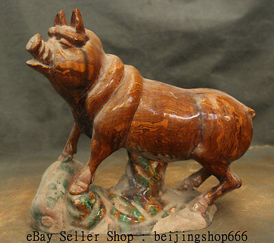 """14"""" Ancient Art Chinese Stir tire Tang San Cai Pottery Dynasty Pig Swine Statue"""