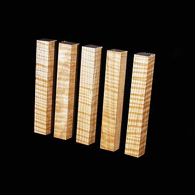 """5 Curly Flame/Tiger Maple Pen Blanks, ¾""""x5"""", Craft turning, carving wood"""