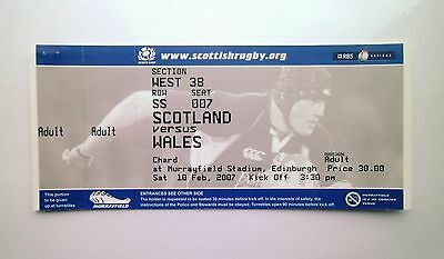 RUGBY UNION SIX NATIONS MEMORABILIA - Tickets Stub(s) Scotland V Wales 10/02/07