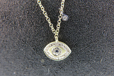 MEIRA T CLASSIC 14KT YG STUNNING EVIL EYE with DIAMOND OFF CENTER DROPS-NWT-16,1