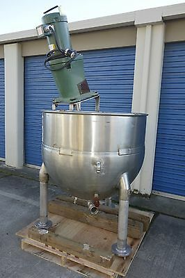 "Groen 150 gal Stainless Jacketed Kettle 3 blade mixer and 2"" bottom discharge."