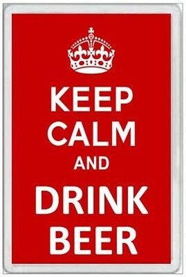 Jumbo Fridge Magnet - Keep Calm & Drink Beer -  Fun Novelty