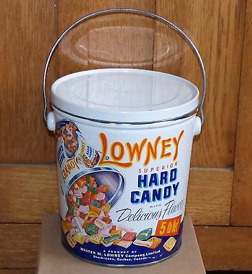 Vintage 5lbs Sherbrooke, Quebec LOWNEY'S hard candy tin can FREE SHIPPING!