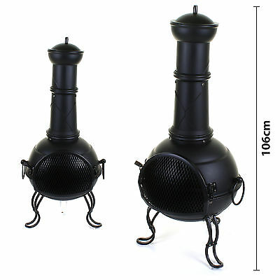 Large Garden Steel Chimenea Chiminea Black Fire Pit Burner Patio Heater Chimnea