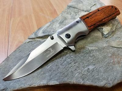 "Elk Ridge Pakka Wood Folding Assisted Open Pocket Knife EDC Satin 8"" A165PW"