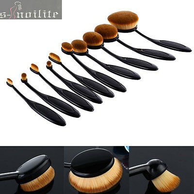 10Pc Oval Cream Puff Cosmetic Toothbrush Shaped Powder Foundation Brushes Makeup