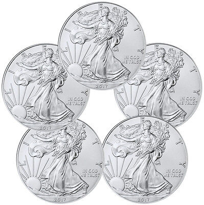 2017 1 Troy oz. American Silver Eagle - Lot of 5 Coins PRESALE SKU44363