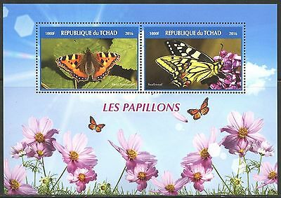 Chad 2016 Butterflies Set Of Two Sheets Each Containing Two Stamps  Mint Nh
