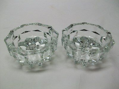 Vintage Indiana Glass American Pattern Low Candle Holders