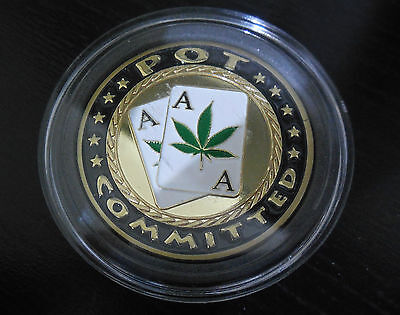Poker Gold Card Guard Protector Pot Committed Weed Drugs Casino Chip Gambling