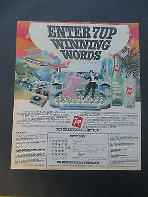 """Vintage 1978 7-Up Soda Winning Words Contest Color Print Ad, 12"""" X 10.125"""""""