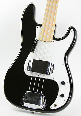Vintage 1975 Fender Fretless Precision Bass Black Refin W/ Original Case