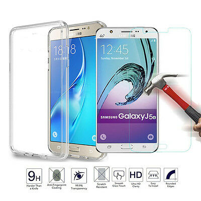 HOT Tempered Glass + Ultra Thin Clear TPU Soft Case Cover For Samsung J Series