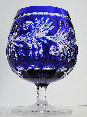 Ajka  Monika Cobalt Blue Cased Cut To Clear Crystal Brandy Snifter