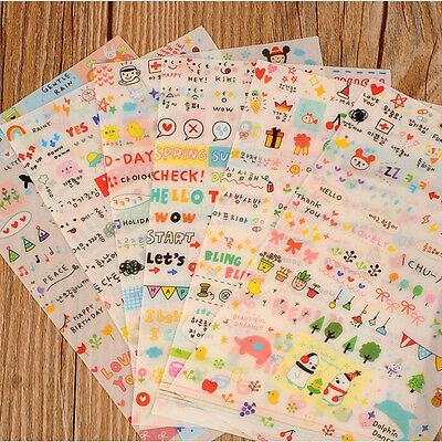 Lovely Korean Stickers For Drawing Diary Decor Notebook  (6 Sheets)