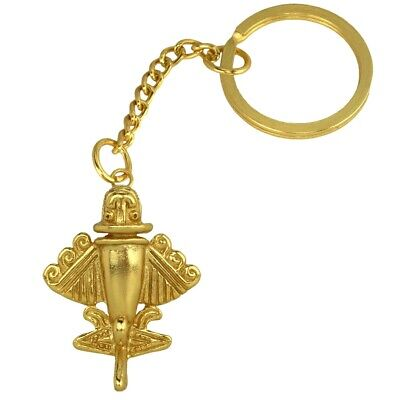 ACROSS THE PUDDLE 24k GP Pre-Columbian Ancient Aliens Golden Jet-9 Keychain-Ring