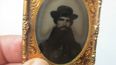 Unusually Clothed Ambrotype, c.1850, WEARING HAT & OVERCOAT, Photo, Photograph