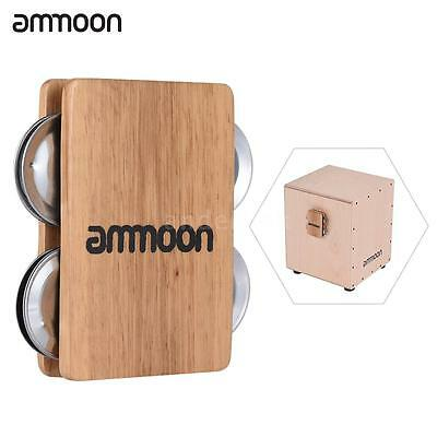 ammoon Cajon Box Drum Companion Accessory 4-bell Jingle Castanet for Hand A5F5