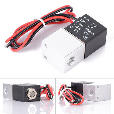 """12V DC 1/8"""" 2Way Normally Closed Pneumatic Aluminum Electric Solenoid Air Valve"""