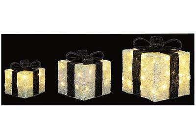A Set Of 3 Black & White Christmas Lit Parcels Xmas Indoor Outdoor Decorations