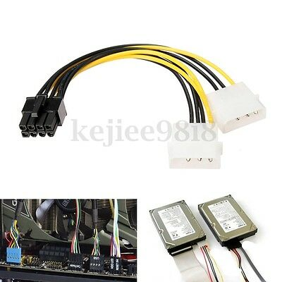 16cm 8 Pin PCI Express Maschio A Dual LP4 4Pin Molex IDE Power Cavo Adattatore