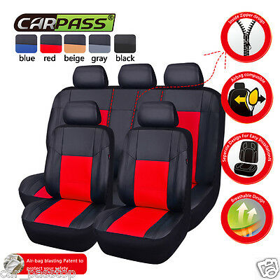 Universal Black Red Faux Leather Full Seat Car Seat Covers Fit Car Truck Suv Set