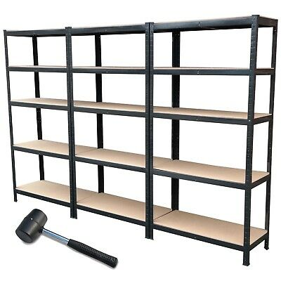 5 Tier Black Metal Shelving Industrial Storage Unit Racking Heavy Duty Shelves