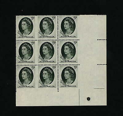 Australia stamps - 1965 5d Green Imperforate perf. pip Block - MNH