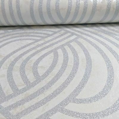 P&s Carat Glitter Geometric Stripes Wallpaper Cream & Silver13346-20 Wall Decor
