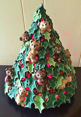 "Gare 14"" Ceramic Bisque Teddy Bear Christmas Tree Light Up Hand Painted"