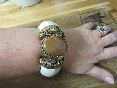Oversize Huge Statement Ethnic Hippy Bone Brass & Stone Hinged Bangle Bracelet