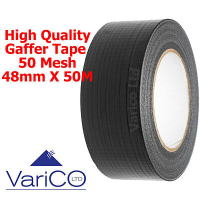 "Gaffa Gaffer Tape 48Mm (2"") X 50M Roll Black - Very High Quality Duct/duck Tape"