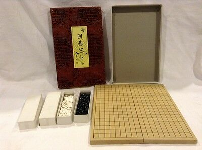 Japanese Wooden Go Game Board, Collapsible, Asian Game With Box, Board & Pieces