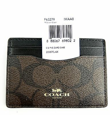 Coach Card Case Wallet Signature C Brown and Black Women Men F63279