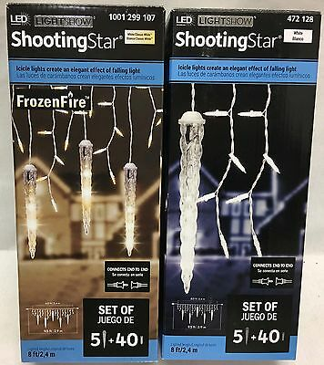 gemmy lightshow 5 icicle falling shooting star 40 white led christmas lights