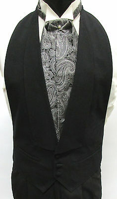 Black 100% Wool Open Back Tuxedo Vest with Choice of Bow Tie or Ascot/Cravat