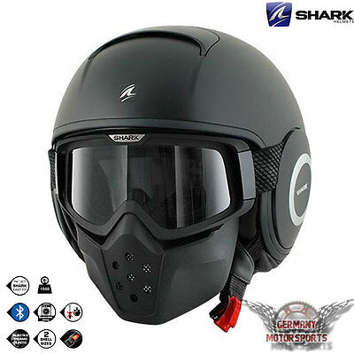 Shark Raw Casque Noir Mat Casque De Moto Scooter Streetfighter Custom Harley Atv