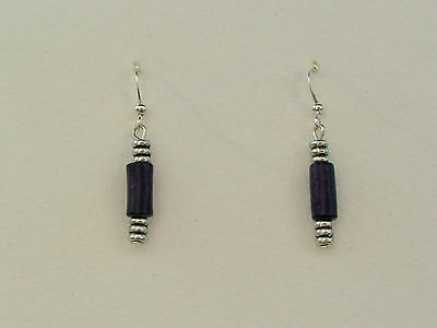 Deco Style Purple Wood And Silver Plated Metal Earrings. Dw